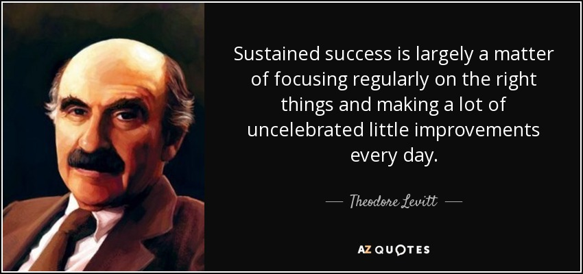 Sustained success is largely a matter of focusing regularly on the right things and making a lot of uncelebrated little improvements every day. - Theodore Levitt