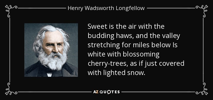 Sweet is the air with the budding haws, and the valley stretching for miles below Is white with blossoming cherry-trees, as if just covered with lighted snow. - Henry Wadsworth Longfellow