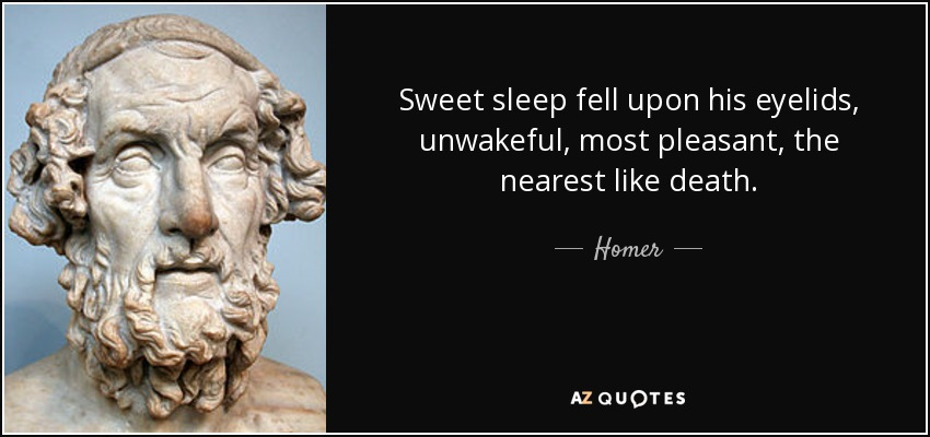Sweet sleep fell upon his eyelids, unwakeful, most pleasant, the nearest like death. - Homer