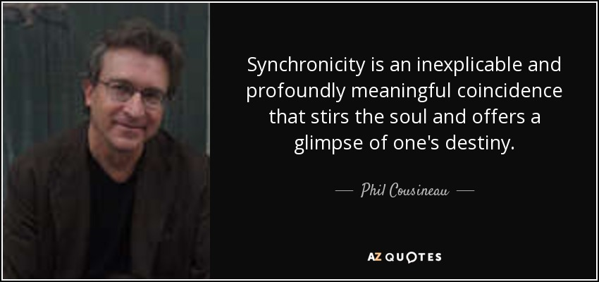 Synchronicity is an inexplicable and profoundly meaningful coincidence that stirs the soul and offers a glimpse of one's destiny. - Phil Cousineau
