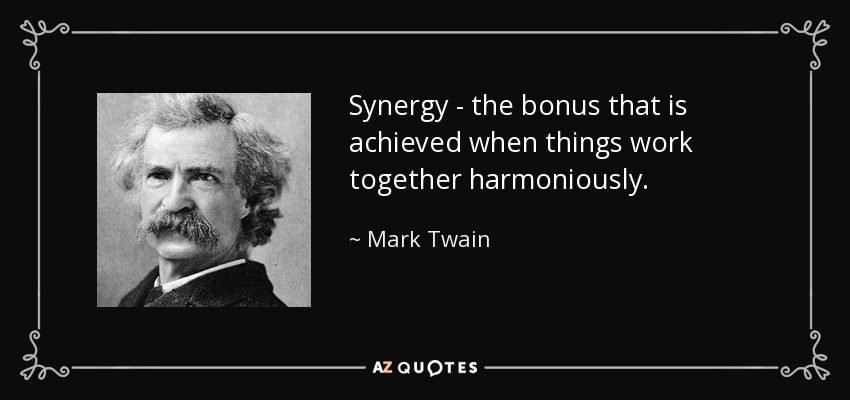 Synergy - the bonus that is achieved when things work together harmoniously. - Mark Twain