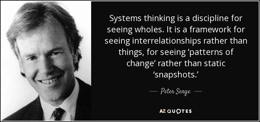 Systems thinking is a discipline for seeing wholes. It is a framework for seeing interrelationships rather than things, for seeing 'patterns of change' rather than static 'snapshots.' - Peter Senge