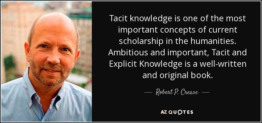 Tacit knowledge is one of the most important concepts of current scholarship in the humanities. Ambitious and important, Tacit and Explicit Knowledge is a well-written and original book. - Robert P. Crease