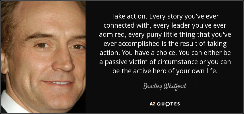 Take action. Every story you've ever connected with, every leader you've ever admired, every puny little thing that you've ever accomplished is the result of taking action. You have a choice. You can either be a passive victim of circumstance or you can be the active hero of your own life. - Bradley Whitford