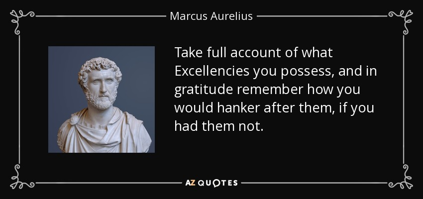 Take full account of what Excellencies you possess, and in gratitude remember how you would hanker after them, if you had them not. - Marcus Aurelius