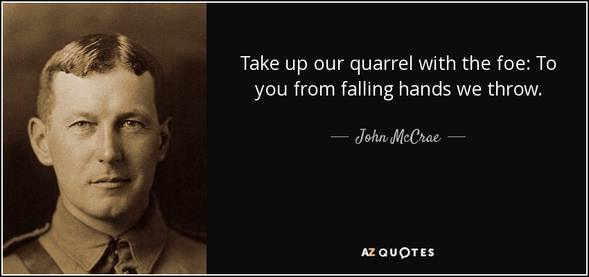 Take up our quarrel with the foe: To you from falling hands we throw. - John McCrae
