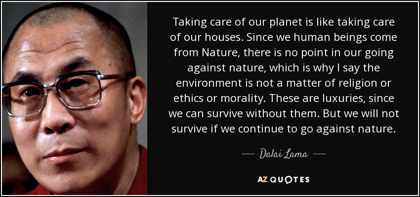 Taking care of our planet is like taking care of our houses. Since we human beings come from Nature, there is no point in our going against nature, which is why I say the environment is not a matter of religion or ethics or morality. These are luxuries, since we can survive without them. But we will not survive if we continue to go against nature. - Dalai Lama