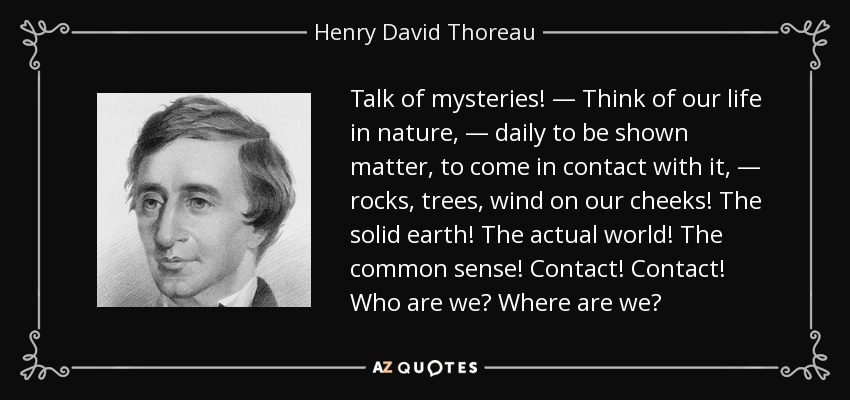 Talk of mysteries! — Think of our life in nature, — daily to be shown matter, to come in contact with it, — rocks, trees, wind on our cheeks! The solid earth! The actual world! The common sense! Contact! Contact! Who are we? Where are we? - Henry David Thoreau