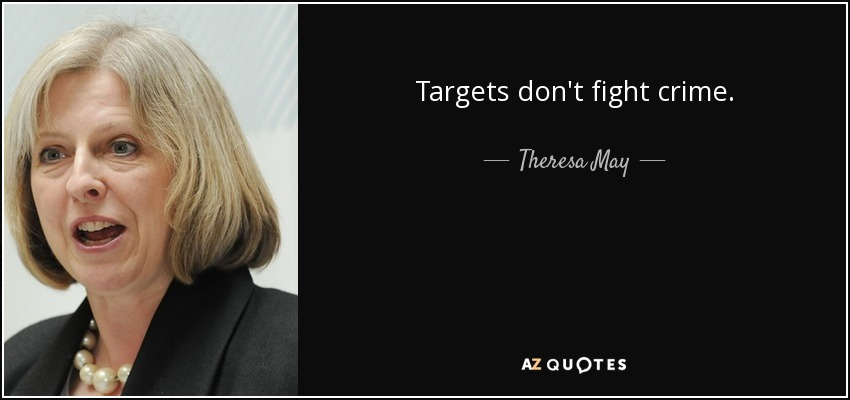 Targets don't fight crime. - Theresa May