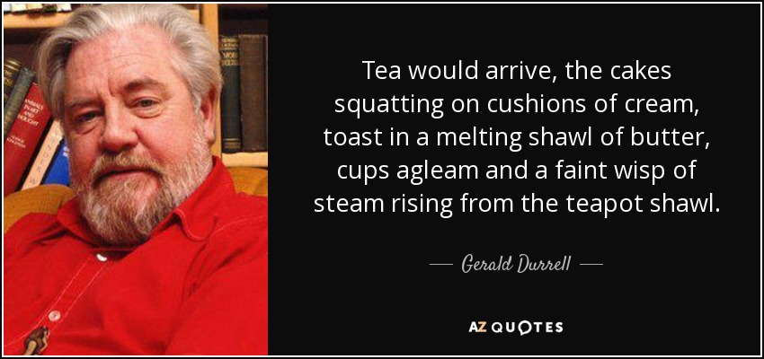 Tea would arrive, the cakes squatting on cushions of cream, toast in a melting shawl of butter, cups agleam and a faint wisp of steam rising from the teapot shawl. - Gerald Durrell