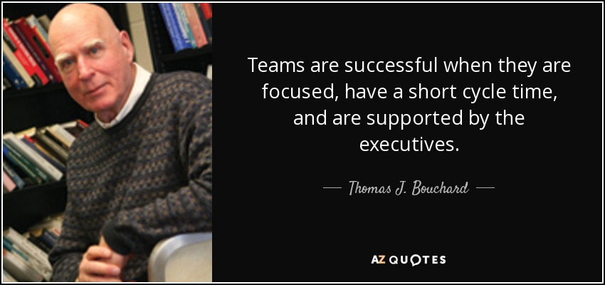 Teams are successful when they are focused, have a short cycle time, and are supported by the executives. - Thomas J. Bouchard, Jr.