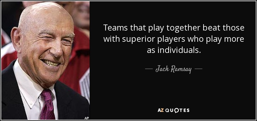 Teams that play together beat those with superior players who play more as individuals. - Jack Ramsay