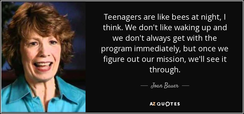 Teenagers are like bees at night, I think. We don't like waking up and we don't always get with the program immediately, but once we figure out our mission, we'll see it through. - Joan Bauer