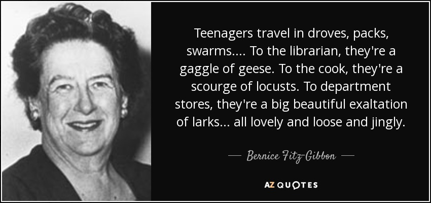 Teenagers travel in droves, packs, swarms. ... To the librarian, they're a gaggle of geese. To the cook, they're a scourge of locusts. To department stores, they're a big beautiful exaltation of larks ... all lovely and loose and jingly. - Bernice Fitz-Gibbon