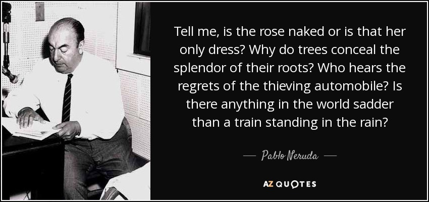 Tell me, is the rose naked or is that her only dress? Why do trees conceal the splendor of their roots? Who hears the regrets of the thieving automobile? Is there anything in the world sadder than a train standing in the rain? - Pablo Neruda