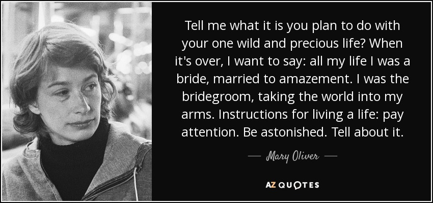 Tell me what it is you plan to do with your one wild and precious life? When it's over, I want to say: all my life I was a bride, married to amazement. I was the bridegroom, taking the world into my arms. Instructions for living a life: pay attention. Be astonished. Tell about it. - Mary Oliver