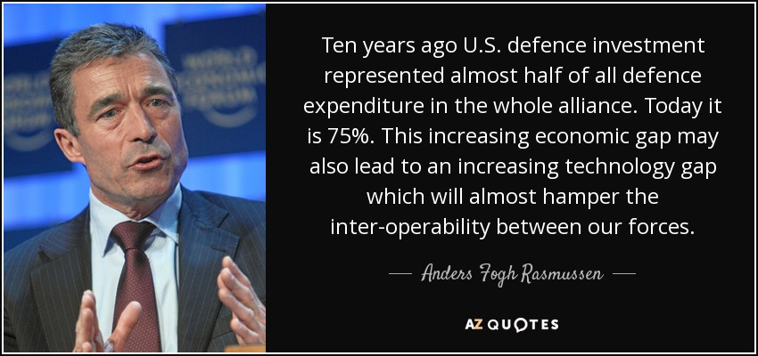 Ten years ago U.S. defence investment represented almost half of all defence expenditure in the whole alliance. Today it is 75%. This increasing economic gap may also lead to an increasing technology gap which will almost hamper the inter-operability between our forces. - Anders Fogh Rasmussen