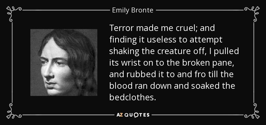 Terror made me cruel; and finding it useless to attempt shaking the creature off, I pulled its wrist on to the broken pane, and rubbed it to and fro till the blood ran down and soaked the bedclothes... - Emily Bronte