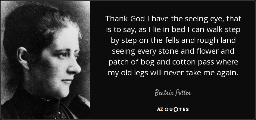 Thank God I have the seeing eye, that is to say, as I lie in bed I can walk step by step on the fells and rough land seeing every stone and flower and patch of bog and cotton pass where my old legs will never take me again. - Beatrix Potter