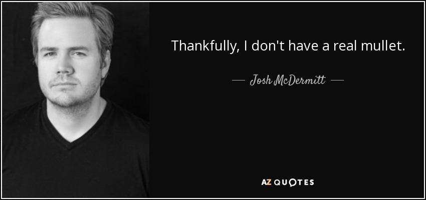 Thankfully, I don't have a real mullet. - Josh McDermitt