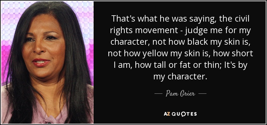 That's what he was saying, the civil rights movement - judge me for my character, not how black my skin is, not how yellow my skin is, how short I am, how tall or fat or thin; It's by my character. - Pam Grier