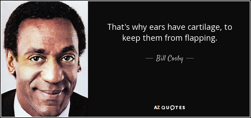 That's why ears have cartilage, to keep them from flapping. - Bill Cosby