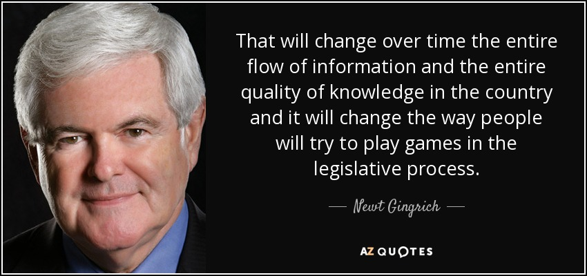 That will change over time the entire flow of information and the entire quality of knowledge in the country and it will change the way people will try to play games in the legislative process. - Newt Gingrich