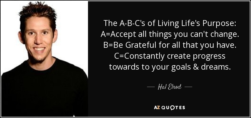 The A-B-C's of Living Life's Purpose: A=Accept all things you can't change. B=Be Grateful for all that you have. C=Constantly create progress towards to your goals & dreams. - Hal Elrod
