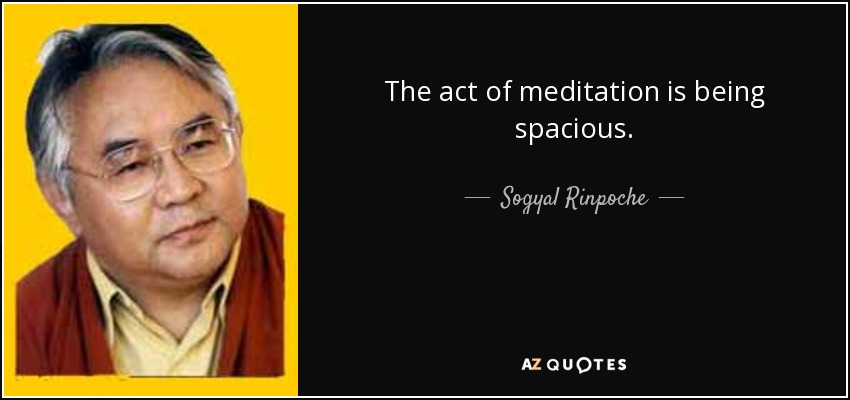 The act of meditation is being spacious. - Sogyal Rinpoche