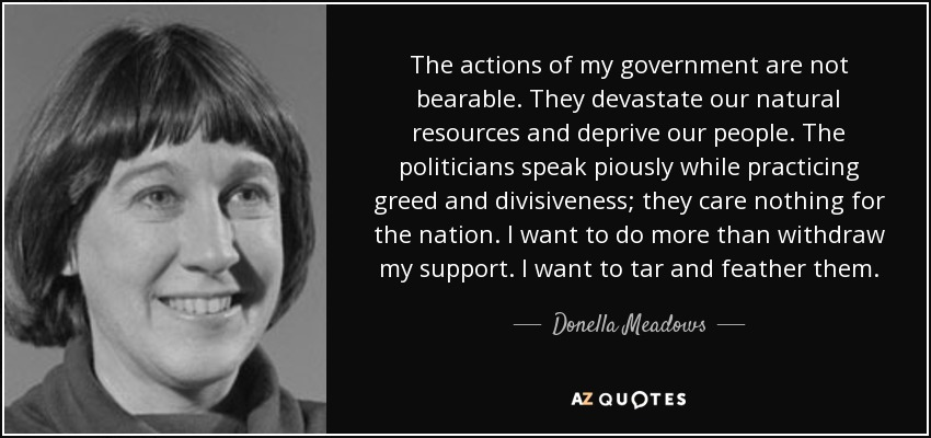 The actions of my government are not bearable. They devastate our natural resources and deprive our people. The politicians speak piously while practicing greed and divisiveness; they care nothing for the nation. I want to do more than withdraw my support. I want to tar and feather them. - Donella Meadows