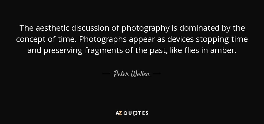 The aesthetic discussion of photography is dominated by the concept of time. Photographs appear as devices stopping time and preserving fragments of the past, like flies in amber. - Peter Wollen