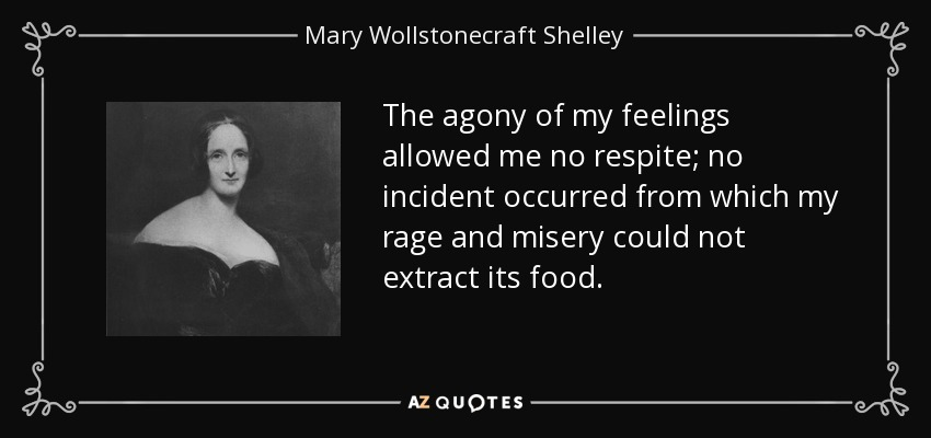The agony of my feelings allowed me no respite; no incident occurred from which my rage and misery could not extract its food. - Mary Wollstonecraft Shelley