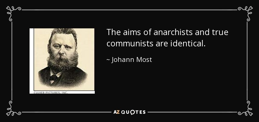 The aims of anarchists and true communists are identical. - Johann Most