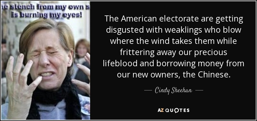 The American electorate are getting disgusted with weaklings who blow where the wind takes them while frittering away our precious lifeblood and borrowing money from our new owners, the Chinese. - Cindy Sheehan