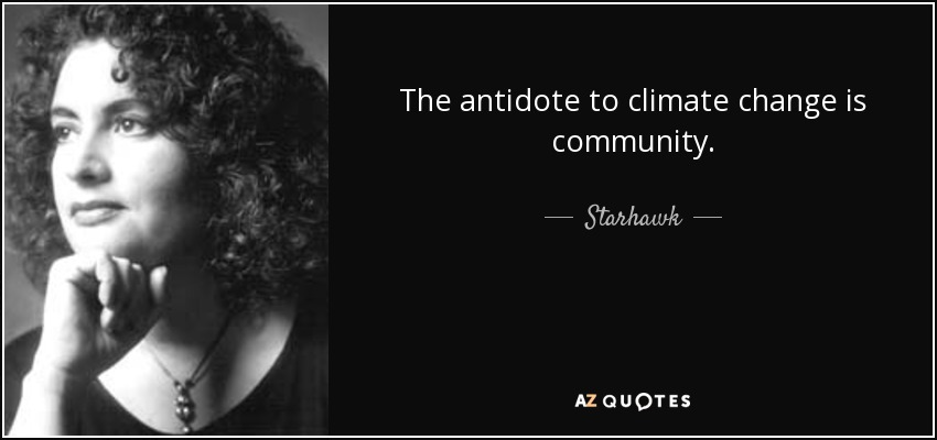 The antidote to climate change is community. - Starhawk