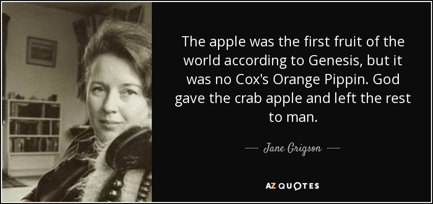 The apple was the first fruit of the world according to Genesis, but it was no Cox's Orange Pippin. God gave the crab apple and left the rest to man. - Jane Grigson