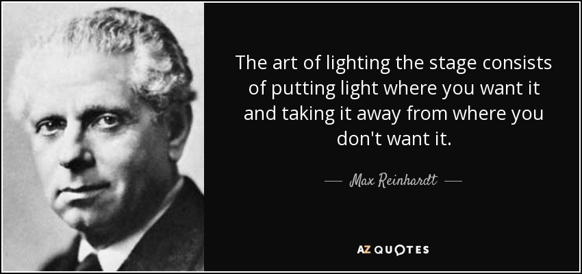The art of lighting the stage consists of putting light where you want it and taking  sc 1 st  AZ Quotes & Max Reinhardt quote: The art of lighting the stage consists of ... azcodes.com