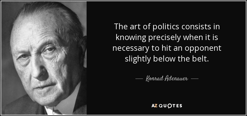 The art of politics consists in knowing precisely when it is necessary to hit an opponent slightly below the belt. - Konrad Adenauer