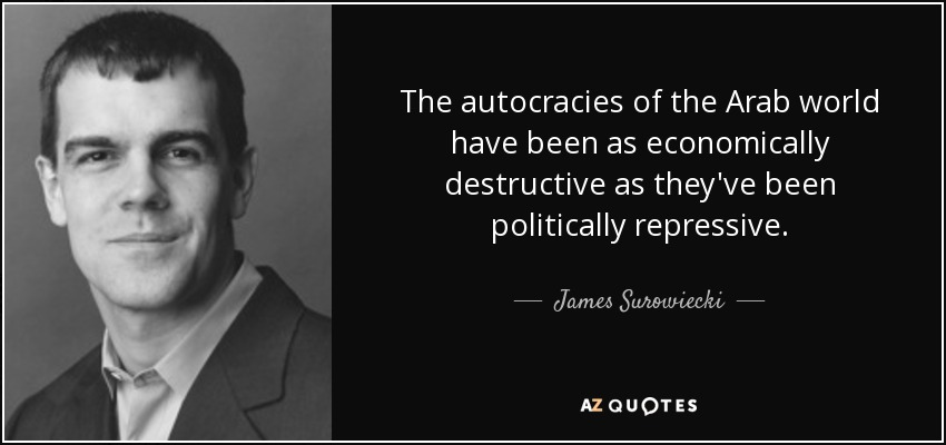 The autocracies of the Arab world have been as economically destructive as they've been politically repressive. - James Surowiecki