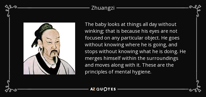 The baby looks at things all day without winking; that is because his eyes are not focused on any particular object. He goes without knowing where he is going, and stops without knowing what he is doing. He merges himself within the surroundings and moves along with it. These are the principles of mental hygiene. - Zhuangzi