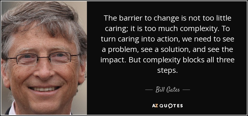Bill Gates Quote The Barrier To Change Is Not Too Little Caring It