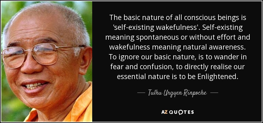 The basic nature of all conscious beings is 'self-existing wakefulness'. Self-existing meaning spontaneous or without effort and wakefulness meaning natural awareness. To ignore our basic nature, is to wander in fear and confusion, to directly realise our essential nature is to be Enlightened. - Tulku Urgyen Rinpoche