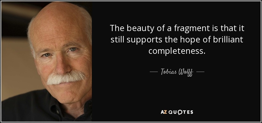 The beauty of a fragment is that it still supports the hope of brilliant completeness. - Tobias Wolff