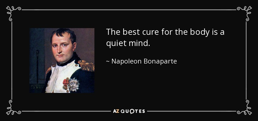 The best cure for the body is a quiet mind. - Napoleon Bonaparte