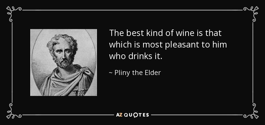 The best kind of wine is that which is most pleasant to him who drinks it. - Pliny the Elder