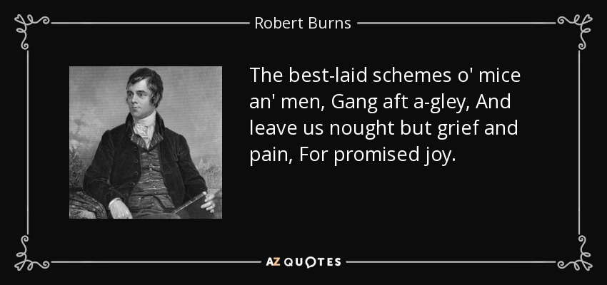 The best-laid schemes o' mice an' men, Gang aft a-gley, And leave us nought but grief and pain, For promised joy. - Robert Burns