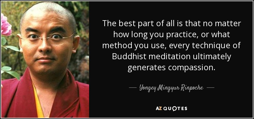 The best part of all is that no matter how long you practice, or what method you use, every technique of Buddhist meditation ultimately generates compassion. - Yongey Mingyur Rinpoche