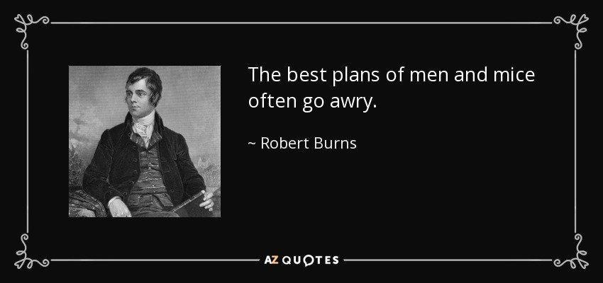 The best plans of men and mice often go awry. - Robert Burns