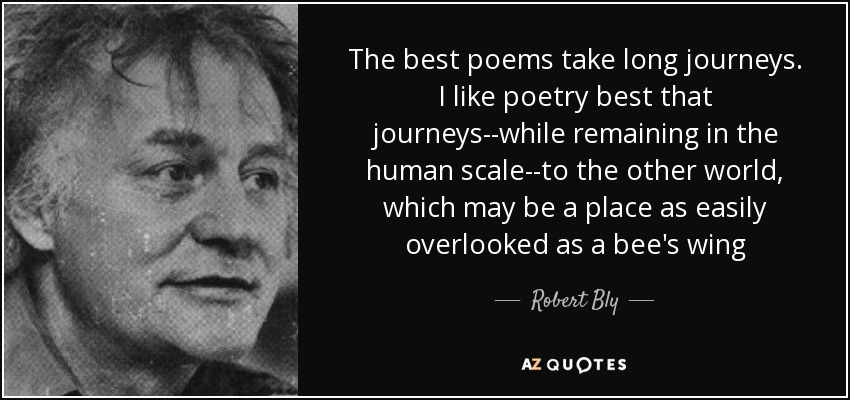 Robert Bly quote: The best poems take long journeys. I like poetry ...