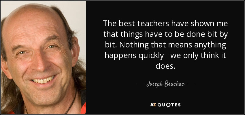 The best teachers have shown me that things have to be done bit by bit. Nothing that means anything happens quickly - we only think it does. - Joseph Bruchac